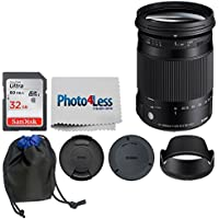 Sigma 18-300mm f/3.5-6.3 DC MACRO OS HSM Contemporary Lens for Canon EF (886101) + 32GB Memory Card + Lens Pouch + Cleaning Cloth - Top Value Lens Accessory Bundle