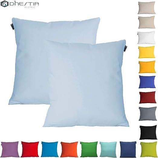 DHestia Pack x 2 Fundas Cojines Decoración Sofá y Cama 45x45 cm Loneta Colores (Azúl Cielo 160 / Sky Blue), 45 x 45 cm: Amazon.es: Hogar