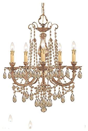 Chandeliers 5 Light with Olde Brass Cast Brass 20 inch 300 Watts - World of Lighting