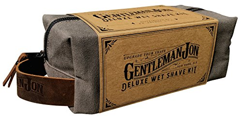Gentleman-Jon-Deluxe-Wet-Shave-Kit-Includes-8-Items-Safety-Razor-Badger-Hair-Brush-Shave-Stand-Canvas-Leather-Dopp-Kit-Alum-Block-Shave-Soap-Stainless-Steel-Bowl-and-Astra-Razor-Blades