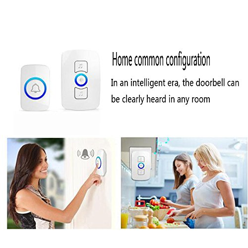 NQFL Wireless Doorbell Call Mobile Old Caller Home Voice Intercom Long-distance Call,White1Receiver+2Button by NQFL (Image #6)