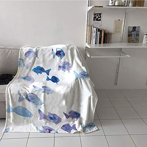 (Khaki home Children's Blanket Chair Lightweight E x tra Big (50 by 60 Inch,Animal,Cute Little Fishes Watercolors Ocean Underwater Life Marine Theme Artwork,Baby Blue Blue Mauve)