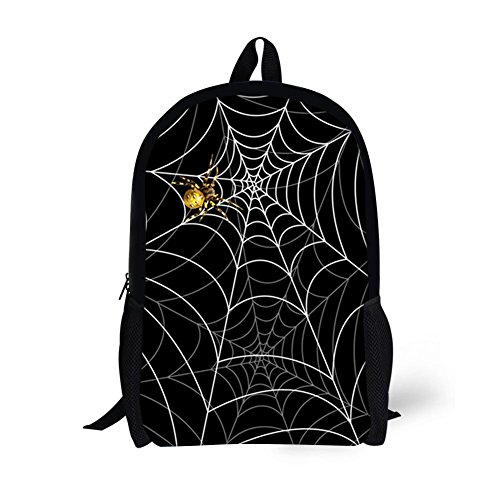 Showudesigns Black Spider Web Backpack for Big Boys Primary Backpack in School