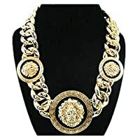 "Basketball Wives Love and Hip Hop 18""L Celebrity Inspired Lion Head Chain Link Necklace"