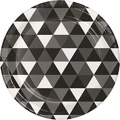 Creative Converting 324471 96 Count Dinner/Large Paper Plates, Fractal Black Velvet