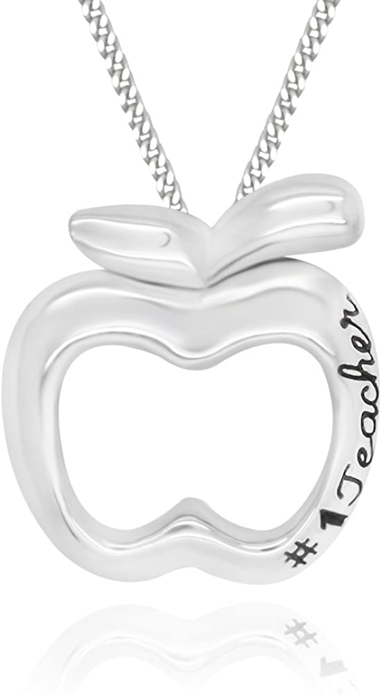 925 Sterling Silver #1 Teacher Apple Pendant Necklace, 18""