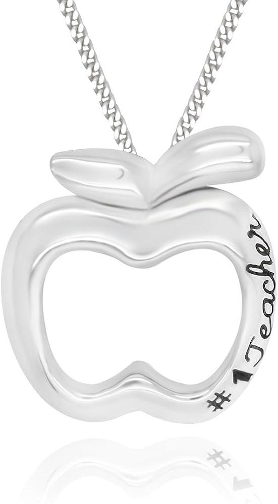 "925 Sterling Silver #1 Teacher Apple Pendant Necklace, 18"""