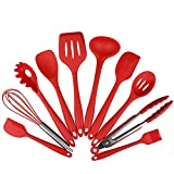 Set of 10 Pieces Silicone Kitchen Cooking Utensils With Hygienic Solid Coating,Heat Resistant Baking Spoonula,Brush,Whisk,Large and Small Spatula,Ladle,Slotted Turner and Spoon,Tongs,Pasta Fork Red