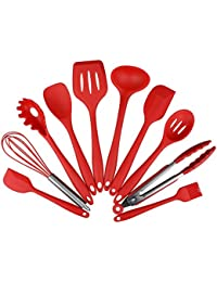 Bargain 10 Set Silicone kitchenware Non-stick cookware cooking Shovel spoon tool-red reviews
