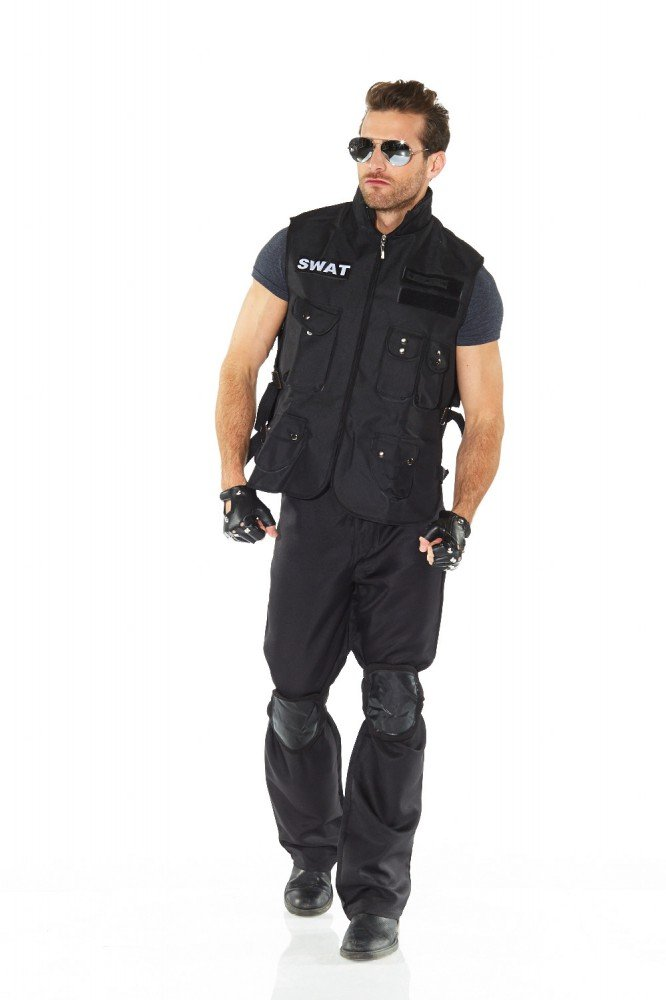 6-teiliges SWAT Herren-Kostüm inklusive Pilotenbrille Weste Handschuhe Knieschoner, Größe:L Größe:L shoperama