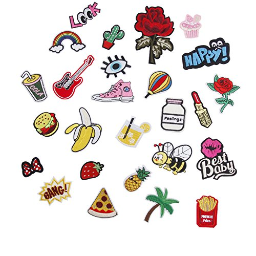 Sale!! Iron on Patch 26pcs– Embroidered Patches Appliqué Motif Applique Kit Assorted Size Decorat...