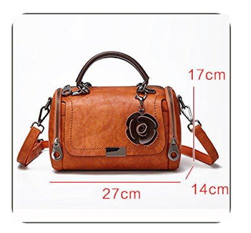Boston Shoulder Bag 17cm Renhong Brown 27 14 Brown Cattle Leather Fashion Retro Ladies Diagonal Bag Brown 81pRYqpx