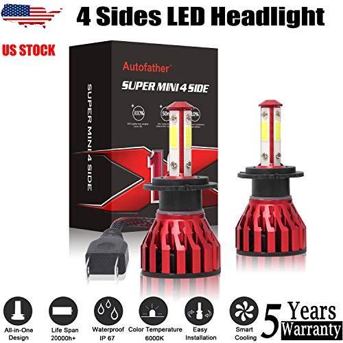 2PCS H7 LED Headlight Bulbs 6000K White All-in-one Lamps 18000LM 200W High Beam/Low Beam/Fog Light for VW Golf 99-2006 Jetta 2006-2018 Passat 1998-2017 (Best H7 Bulbs Uk)