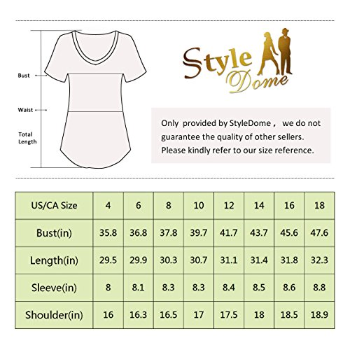 StyleDome Women V Neck Casual Blouse Shirts Short Sleeve Asymmetrical Hem Solid Plain Long Tee Tops Grey US 18 by StyleDome (Image #4)