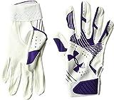 Under Armour Girls' Radar Softball Gloves Purple/White, Purple /Purple, Youth Large