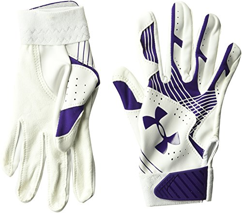Under Armour Girls' Youth Radar Softball Gloves Purple/White, Purple /Purple, Youth Large