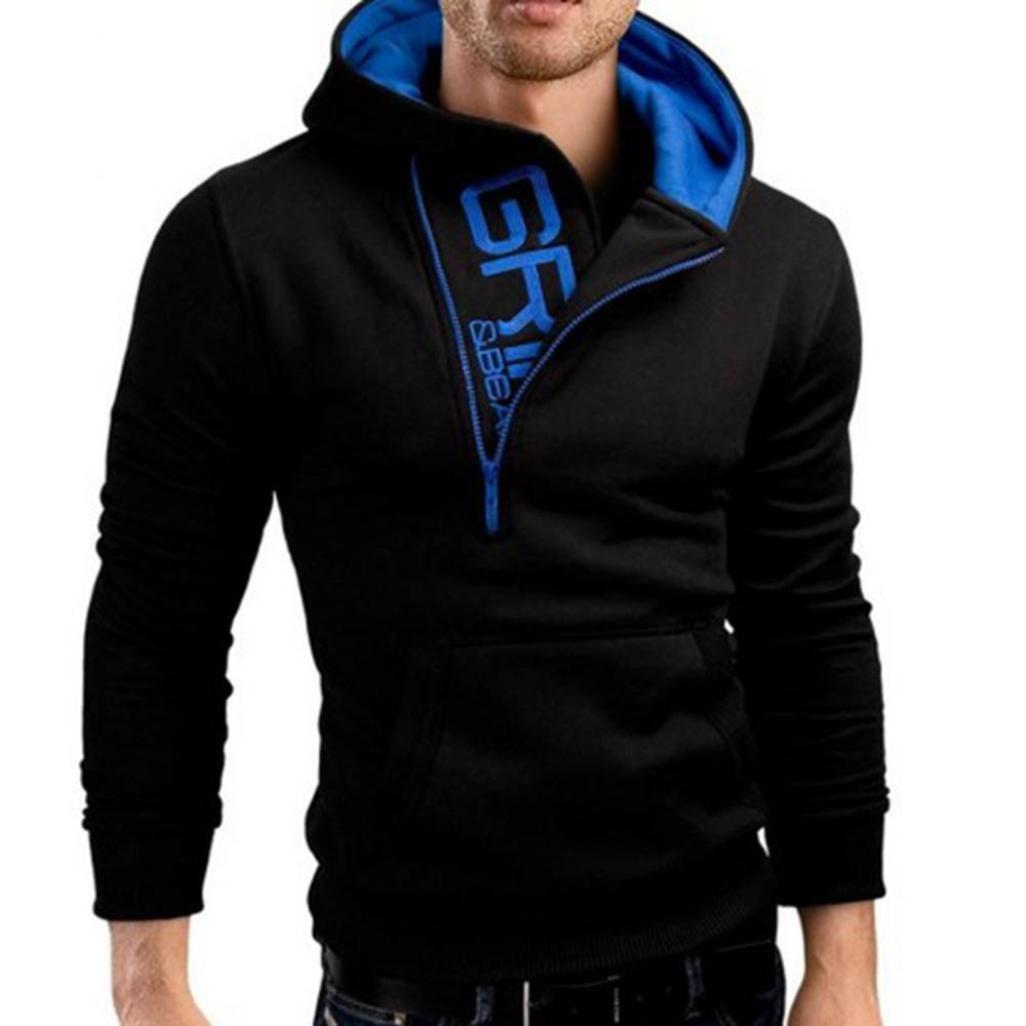 Men's Long Sleeve Hoodie Hooded Sweatshirt Tops Jacket Coat Outwear 2017/2018/2019 (Black, M)