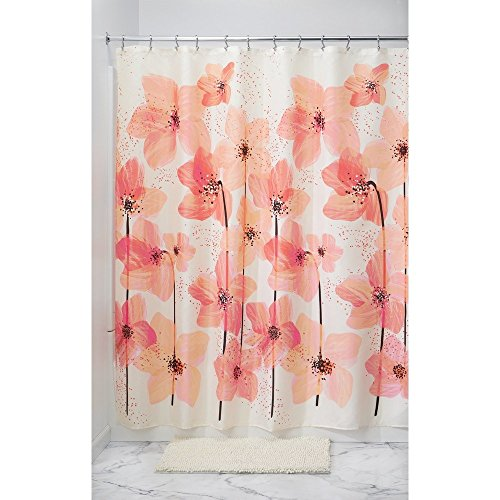 (InterDesign Blossom Fabric Shower Curtain, 72-Inch by 72-Inch, Pink)