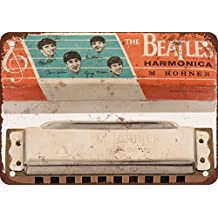 """7"""" x 10"""" Metal Sign - 1964 The Beatles Harmonica - Vintage Look Reproduction"""