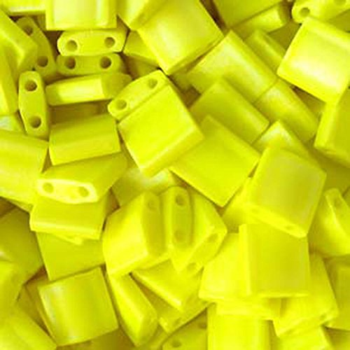 Yellow Opaque Matte Tila Beads 7.2 Gram Tube By Miyuki Are a 2 Hole Flat Square Seed Bead 5x5mm 1.9mm Thick with .8mm Holes