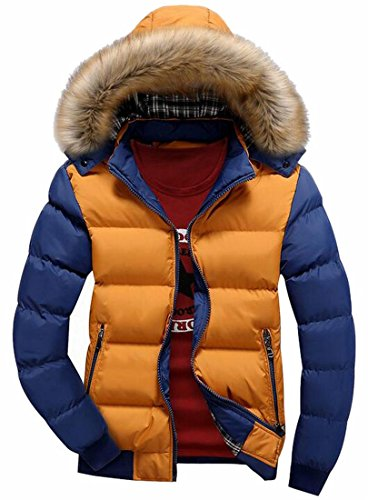 Casual Cotton Qulited Jackets Year 5 Hooded Faux Winter Mens Fly Down Fur uk qHRnwfTT1