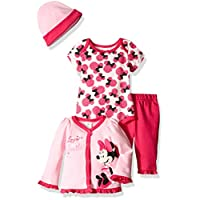 Disney Baby Girls' 4-Piece Minnie Mouse Cardigan Set with Bodysuit, Pink, 6/9...