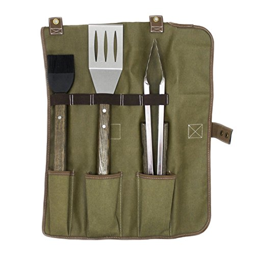 Charcoal Companion CC1093 Oval Pro Chef 3PC (S, LT,BB) Toolset and Tool Roll, Olive Green Tote, Espresso Stained Handles
