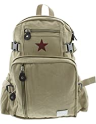 Girls - Khaki Mini Rucksack Red Star Vintage Canvas School Backpack with Army Universe Pin