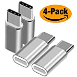 USB Type C Adapter, BrexLink Micro USB to USB-C Adapter (4Pack) Convert Connector Fast Charger for Samsung Galaxy Note 8,S8 Plus, S8, LG V30, G5 6,Google Pixel, MacBook, Nintendo Switch (Silver)