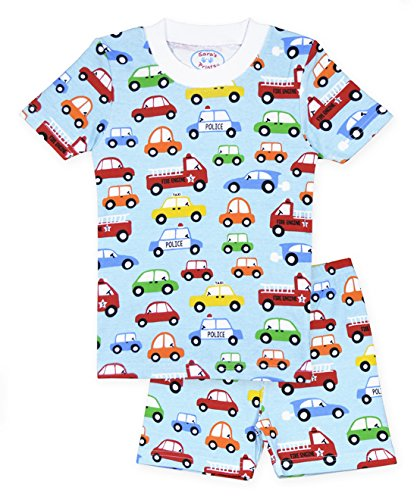 Sara's Prints Little Boys' Soft All Cotton Fitted Short Pajama Set, All Kinds of Cars, 7