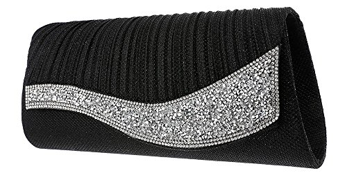 Glitter Sparkly Prom Bag Envelope Diamante Wedding Party Womens Evening Hotstylezone Clutch Black 5x6UfwaE