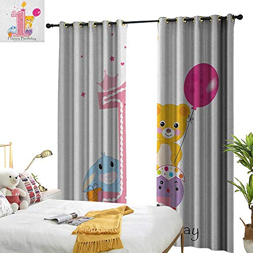 (1st Birthday Decor Curtains by Princess Girl and Party Cake with Candle Teddy Bear Toy Print W72 x L84,Suitable for Bedroom Living Room Study, etc.)