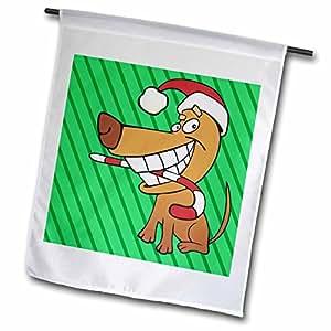 TNMGraphics Christmas - Santa Dog With Candy Cane - 18 x 27 inch Garden Flag (fl_98760_2)