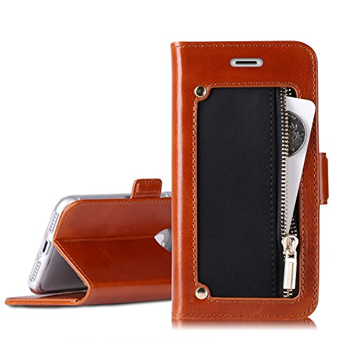 iPhone 8 Wallet Case, iPhone 7 Wallet Case, Homelove Genuine Leather Wallet Case with Zipper Coin Pocket and Kickstand Feature for Apple iPhone 7/iPhone 8 - Online Take Stores Debit That