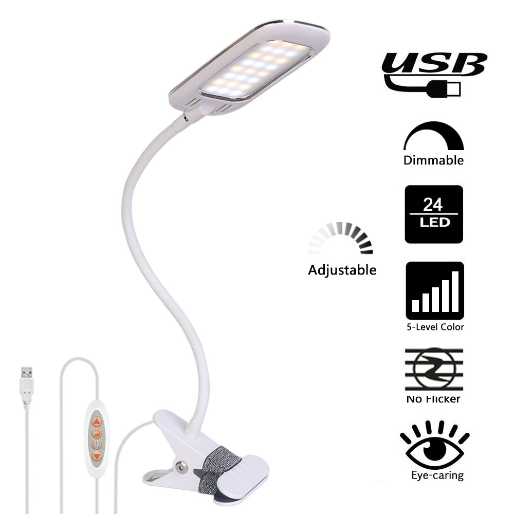 Addie LED Clip-on Lamp/Reading light/Book Light with 5 Modes and Stepless Dimming Levels, Flexible Soft Silicone Arms Sunlight Lamp, Eye-care Night Light/Desk lamp for Reading, Studying, Working