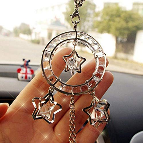 SZWGMY Car Auto Rearview Mirror Pendant Crystal Lucky Star Hanging Ornament Car Accessories Interior Decoration Home Decor /… B