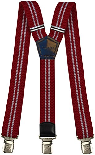Mens Suspenders Wide Adjustable and Elastic Braces Y Shape with Very Strong Clips - Heavy Duty (Red (Best Mixed Man Christmas)
