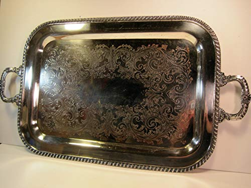 Silver Plated Tray with Handles, FB Rogers Silver Co, Silver on Copper #6719, Vintage 26 Inches