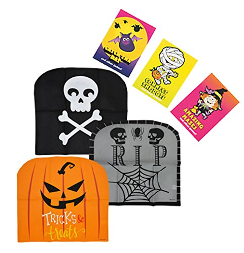 Spooky Halloween Inspired Chair Covers! (Set of 3) Add Some Chair-back Pizazz to Your Fall and Halloween Décor This Year! Plus Bonus Mini Halloween Fun & Games Books