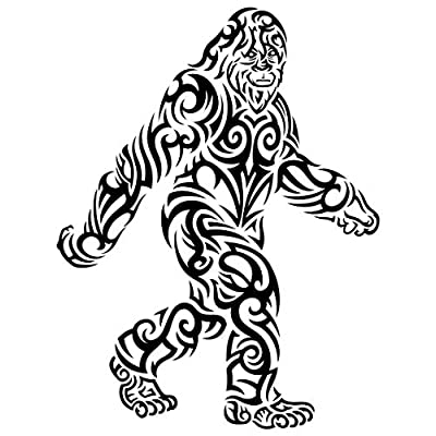 Tribal Bigfoot Sticker | Black & White Die-Cut Label | Folklore Creature Legend | I believe hunting searching for Sasquatch Yeti | Use on Water Bottle Decal for Sign Toy Book Sock T-Shirt Earring Art: Automotive