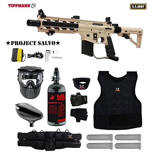 MAddog Tippmann U.S. Army Project Salvo Starter Protective HPA Paintball Gun Package - Tan