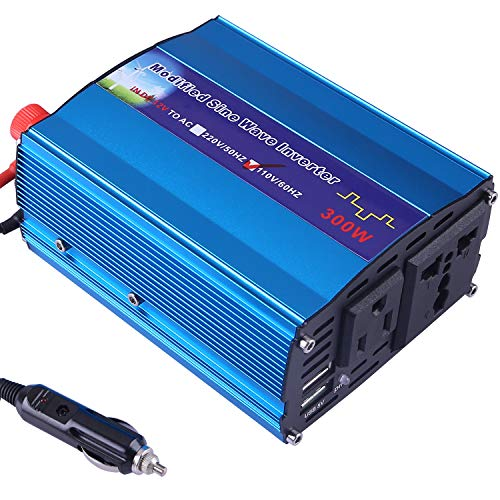 (Eternal Home 300W Car Power Inverter DC 12V to 110V AC Charger Electric Inverter with 4.8A Dual USB Charging Ports and 3 Pin Plug - Blue Aluminum Alloy Body)