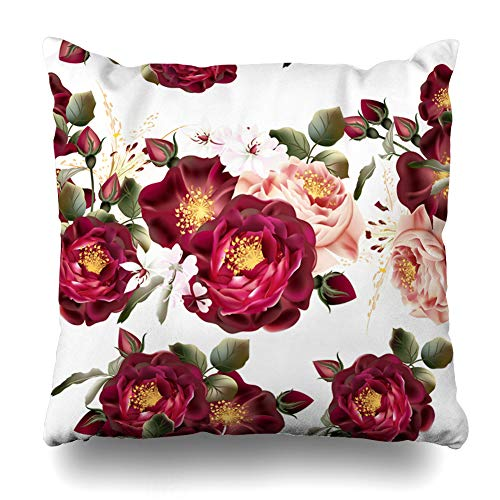 Ahawoso Throw Pillow Cover Watercolor Floral Realistic Pattern Roses in Vintage Flower Nature Pink Graphic Border Design Zippered Pillowcase Square Size 18 x 18 Inches Home Decor Cushion Case