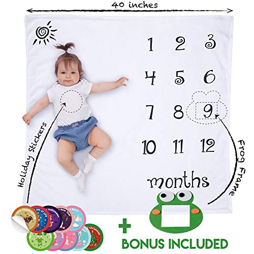 - Baby Monthly Milestone Blanket | Includes 10 Holiday Stickers and Frog Frame | Super Soft Photography Baby Month Blanket | Infant and Newborn Baby Milestone Blanket | Baby Shower Gift for Boys, Girls