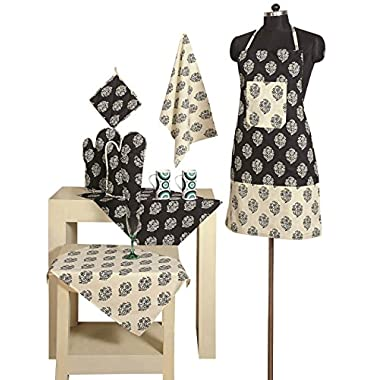 Handmade Patterned Cotton Chef's Apron Set with Pot Holder, Oven Mitts & Napkins - Perfect Home Kitchen Gift or Bridal Shower Gift