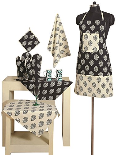 Handmade Patterned Cotton Chef's Apron Set with Pot Holder, Oven Mitts  Napkins – Perfect Home Kitchen Gift or Bridal Shower Gift