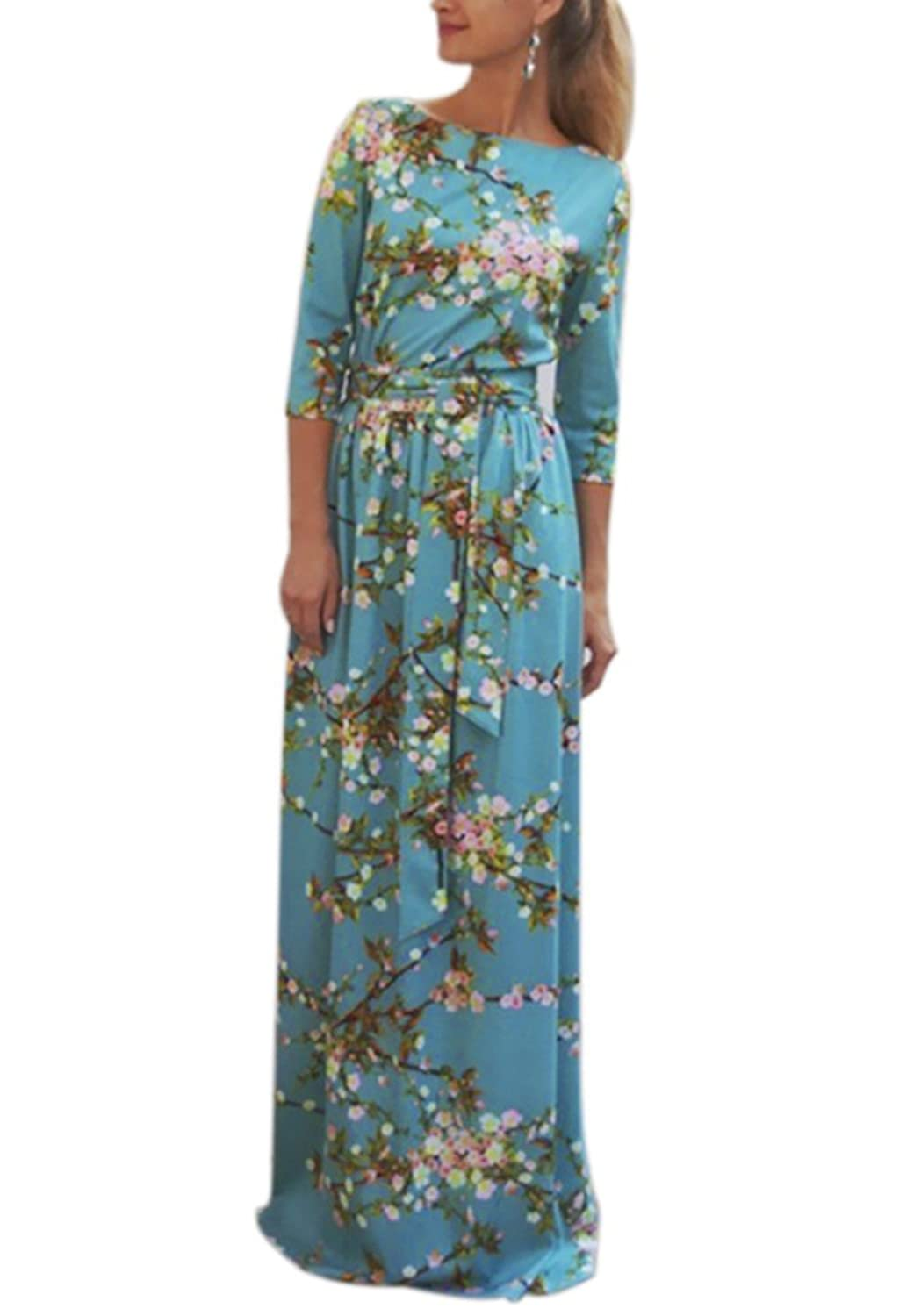 Walant Women 3 4 Sleeve Flower Floral Pleated Party Cocktail Long Maxi Dress