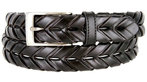 Genuine Leather Arrow Braided Hand Woven Dress Belt 1-1/8