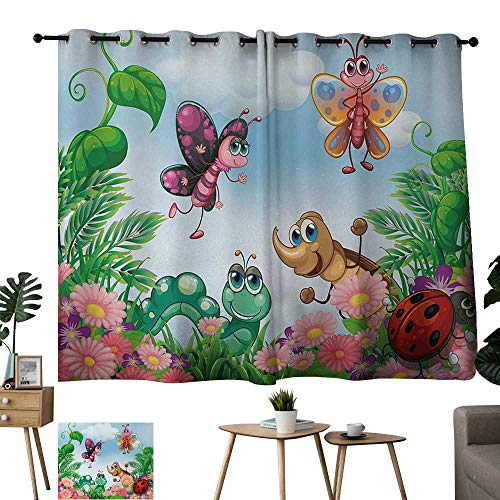 Jouiysce Grommet Decorative Curtains for Living Room Garden Gardening Theme Illustration of Butterfly Ladybug Worm Flowers and Grass Jade Green Fern Green Sliding Door Curtain for Guestroom W96 xL72 (Green Pinnacle Grass)
