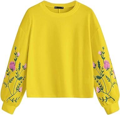 Sudadera Mujer Tumblr, K-Youth Flor Planta Impresión Sudaderas ...
